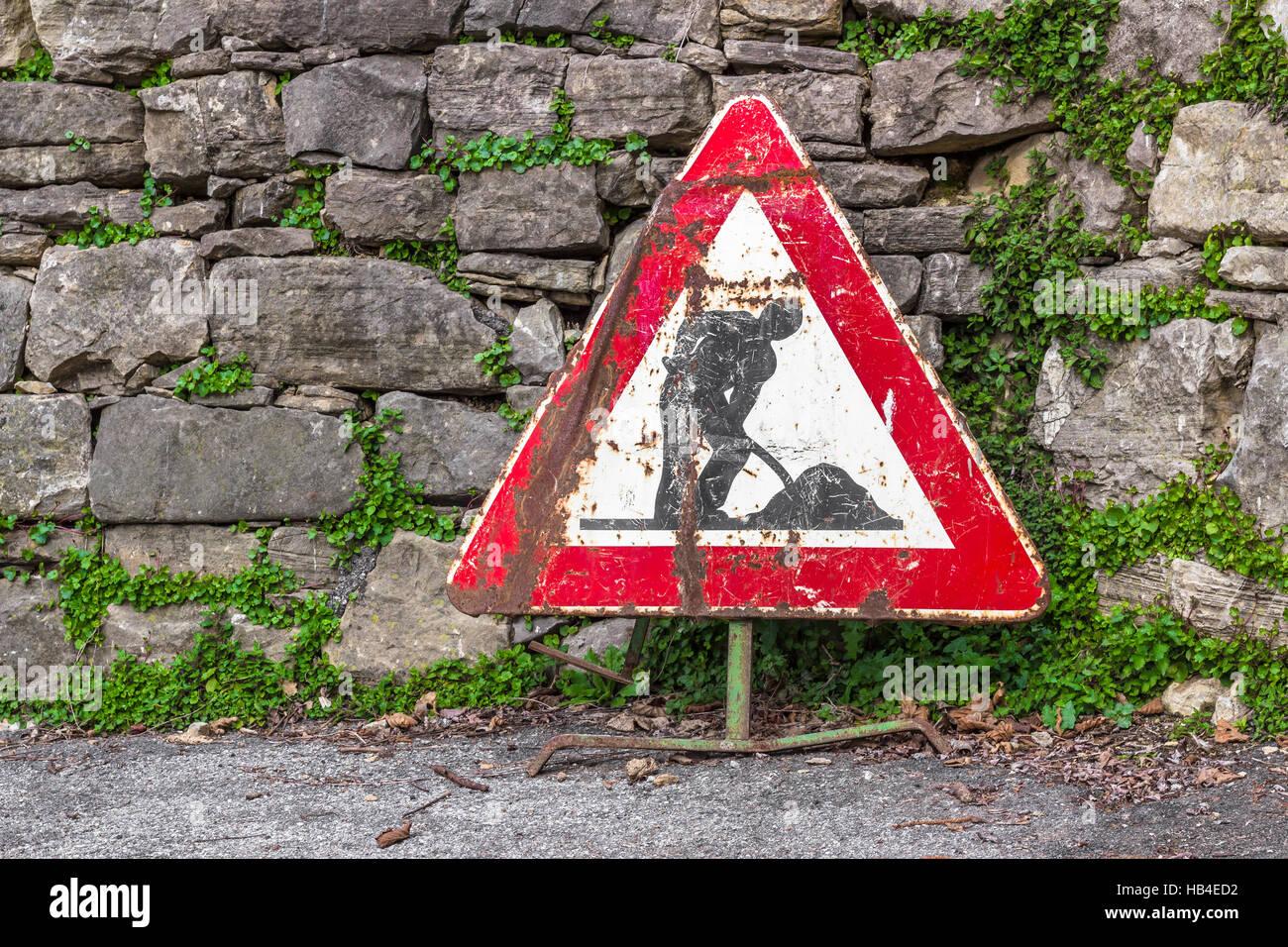Work in progress road sign - Stock Image