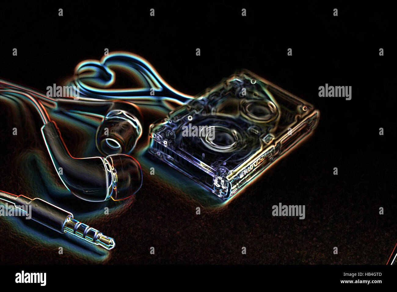 concept audio tape on a blue rock - Stock Image