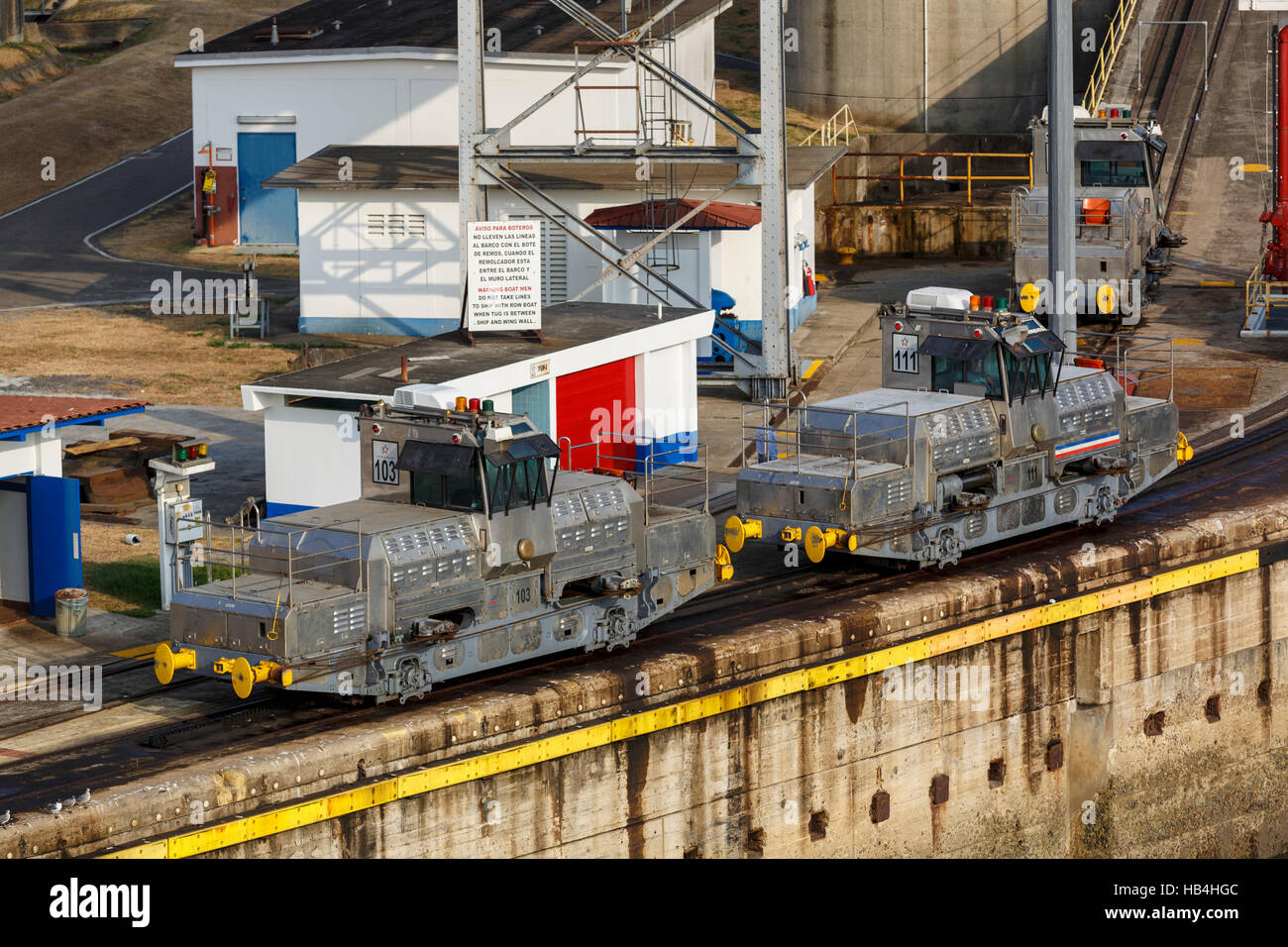 290 HP Mitsubishi locomotives known as mules on the Panama Canal - Stock Image