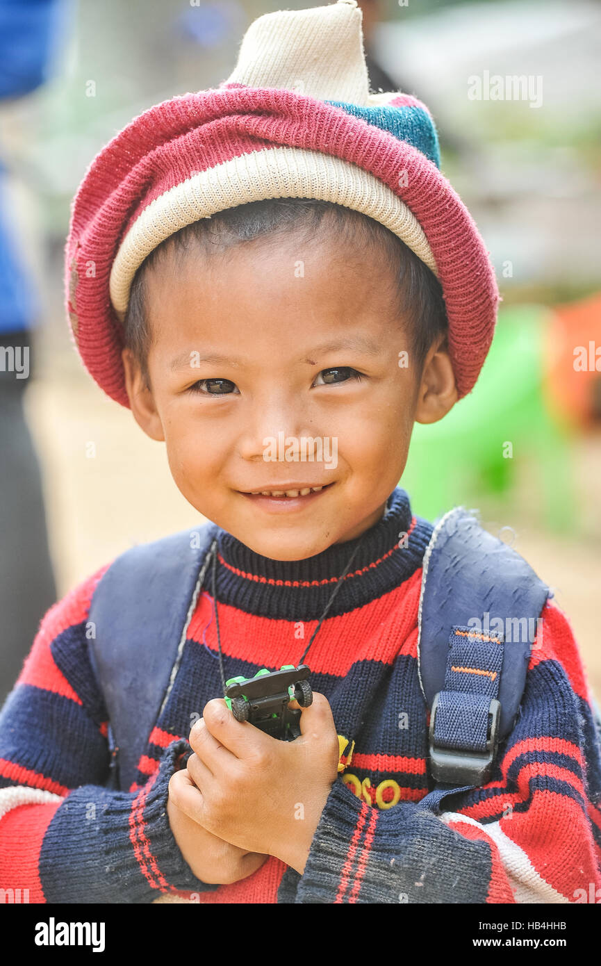 Portrait of a kid in Muang Khua, Laos Stock Photo