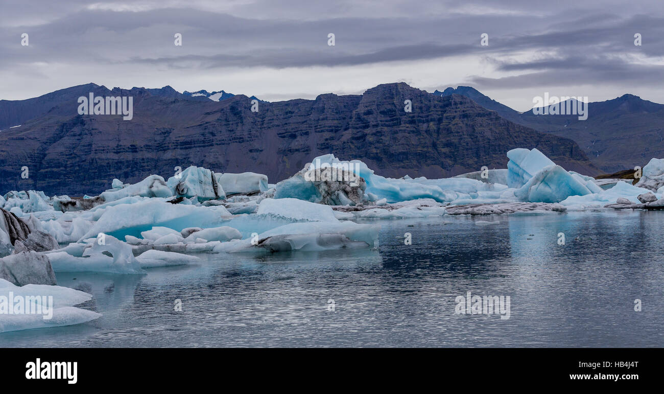 The glacier lagoon in South Iceland with mountains in the background Stock Photo