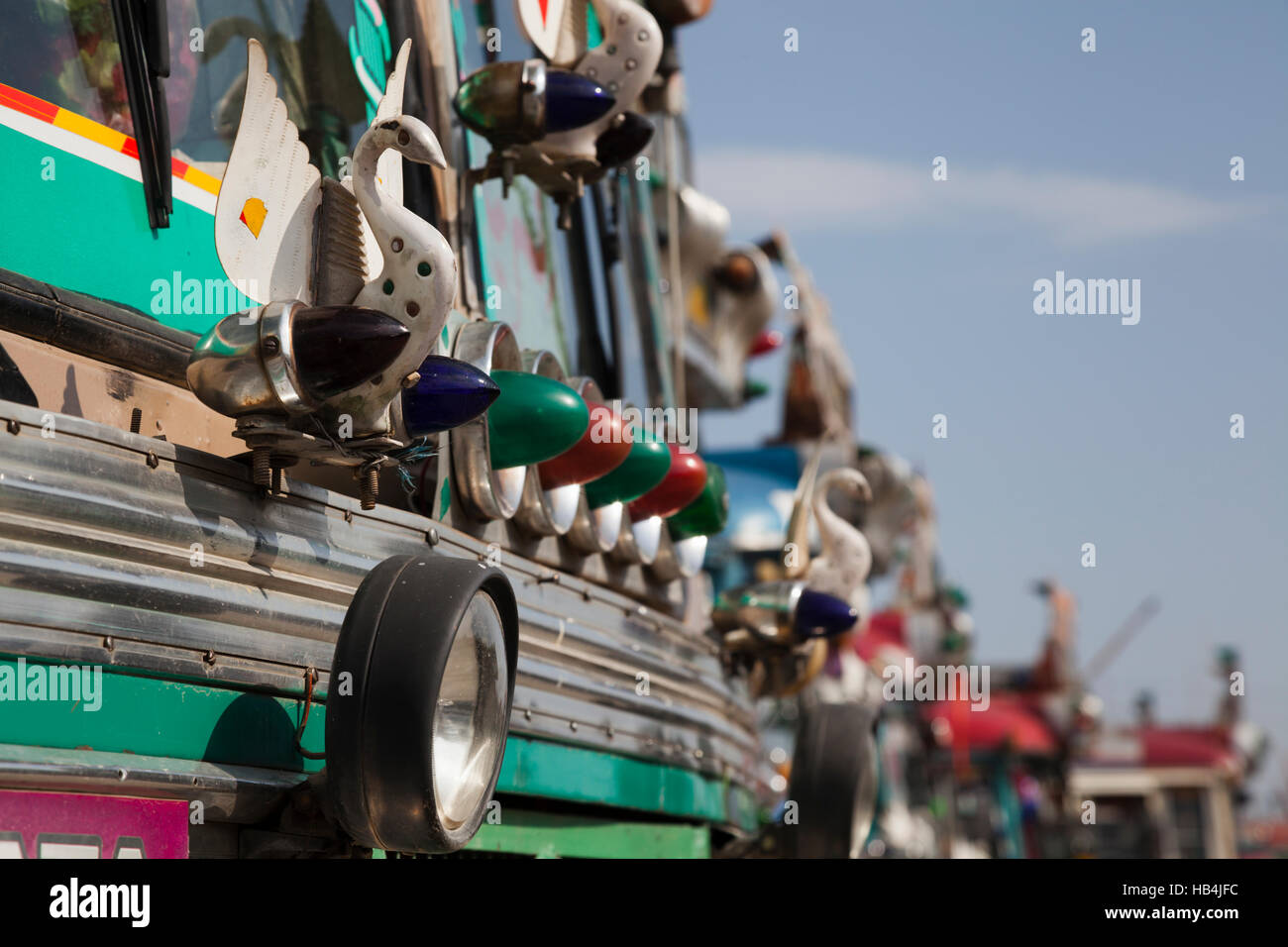 Decorated Indian passenger buses at Srinagar bus station, Kashmir, India - Stock Image