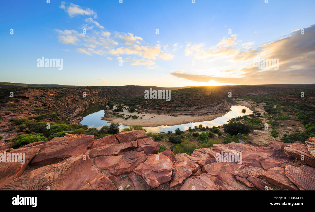 The Murchison River meandering through The Loop gorge at sunrise in Kalbarri National Park. Kalbarri, Western Australia - Stock Image