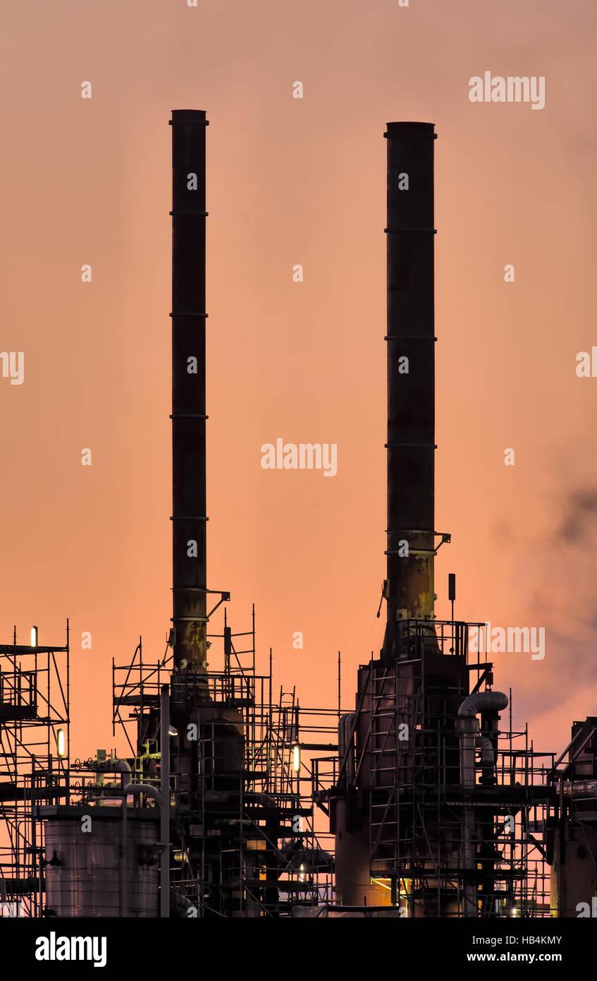 Industry Chimneys, Botlek - Stock Image