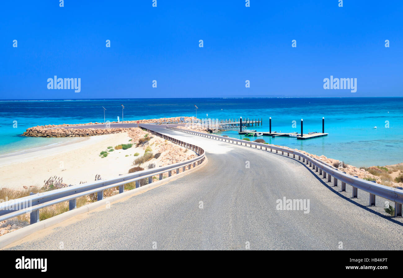 Monck Head boat launch jetty. Coral Bay, Western Australia - Stock Image