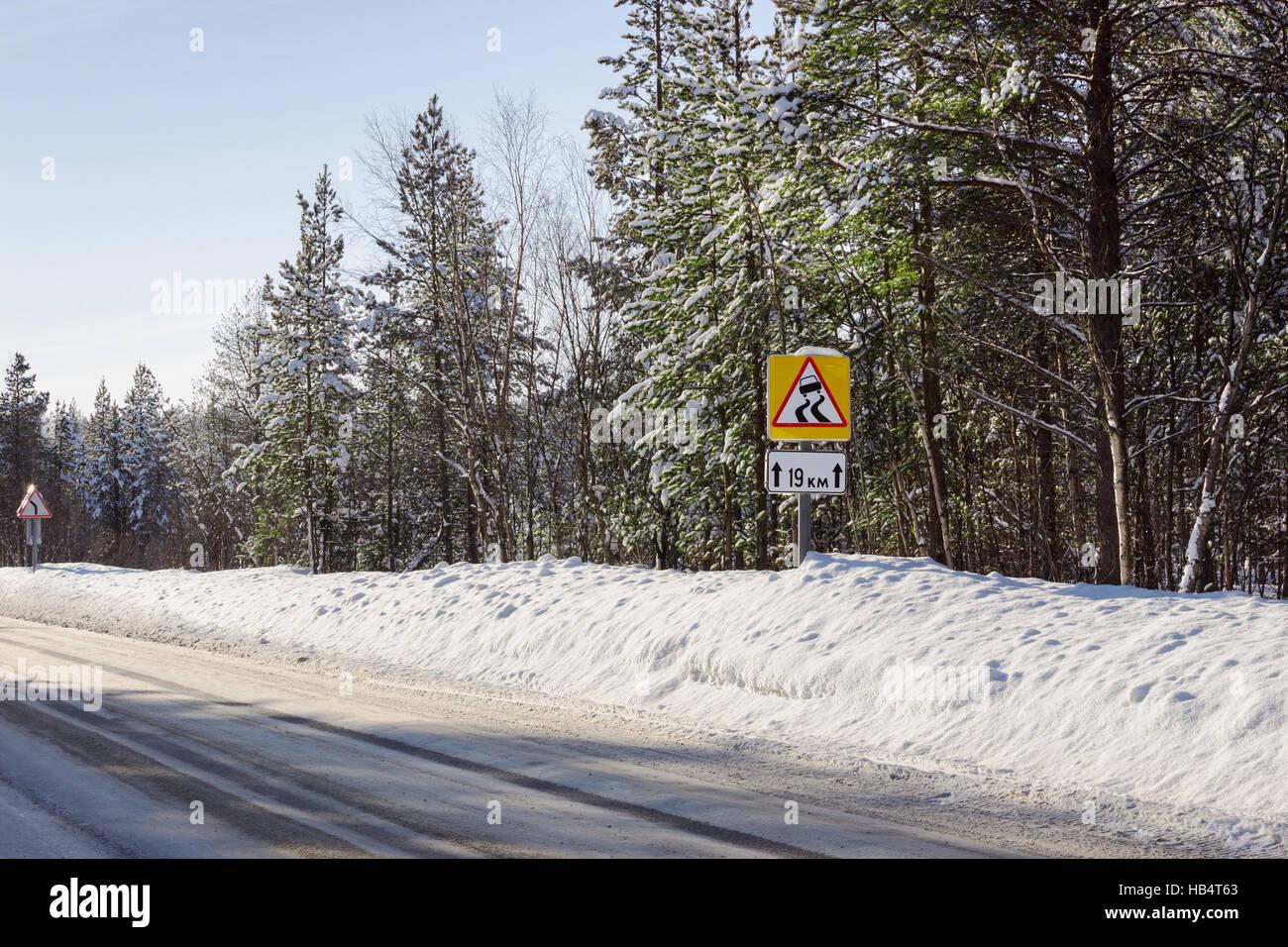 Slippery winter road segment times - Stock Image