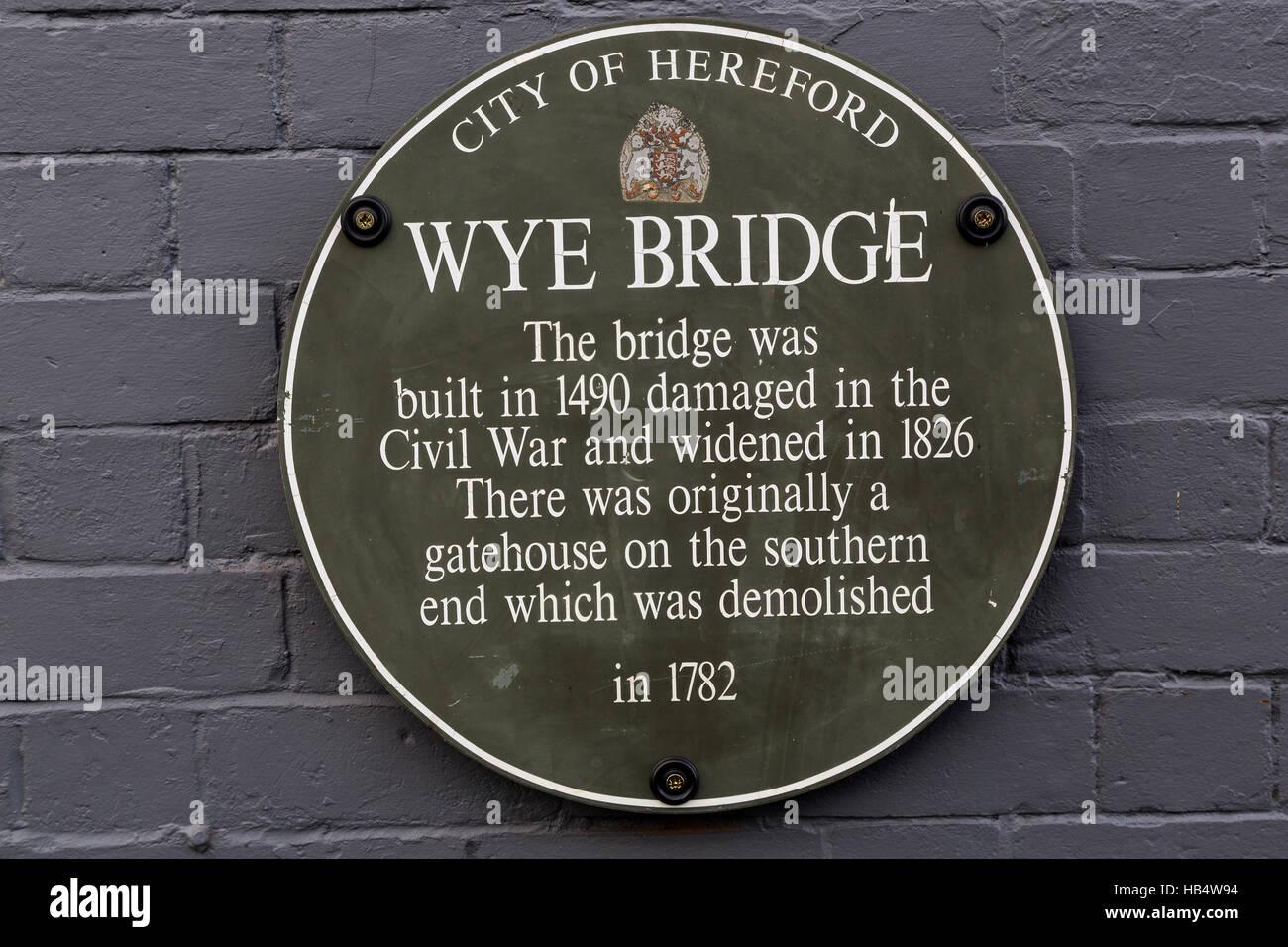 Plaque on Wye Bridge, Hereford, England, UK - Stock Image