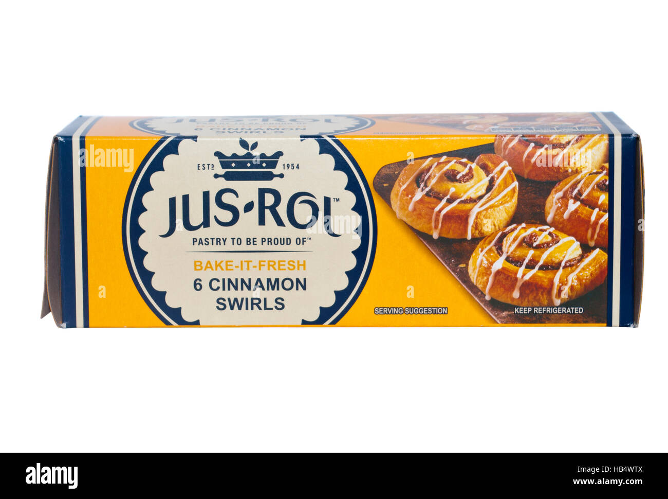 Box Of Jus Rol Bake It Fresh 6 Cinnamon Swirls Pastries - Stock Image