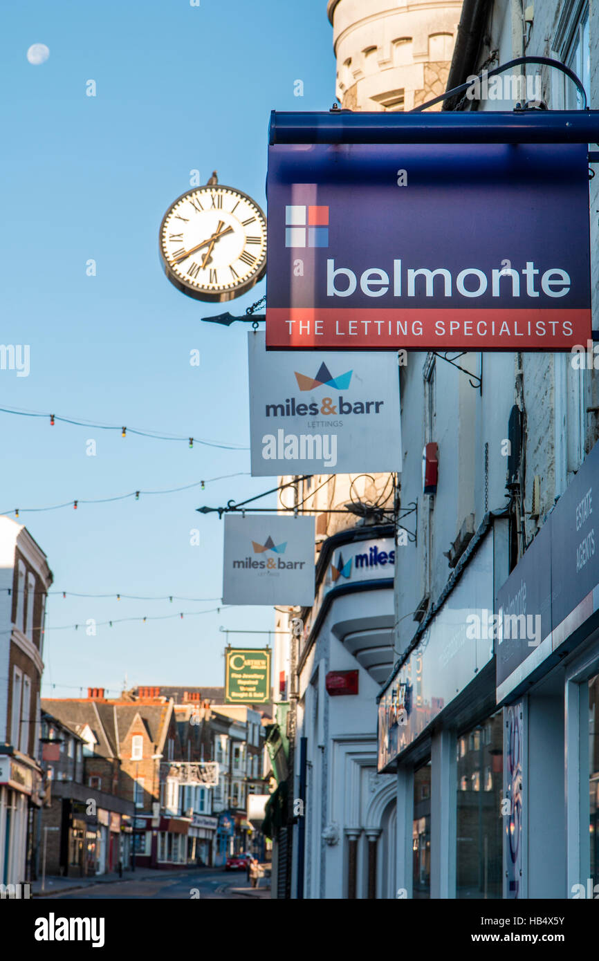 England, Ramsgate. Letting agents signs along town street, Belmonte and Miles & Barr, part of the property market - Stock Image