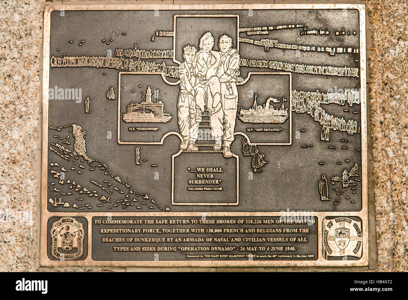 England, Ramsgate. Operation Dynamo memorial, commemorating the Dunkerque evacuation. - Stock Image