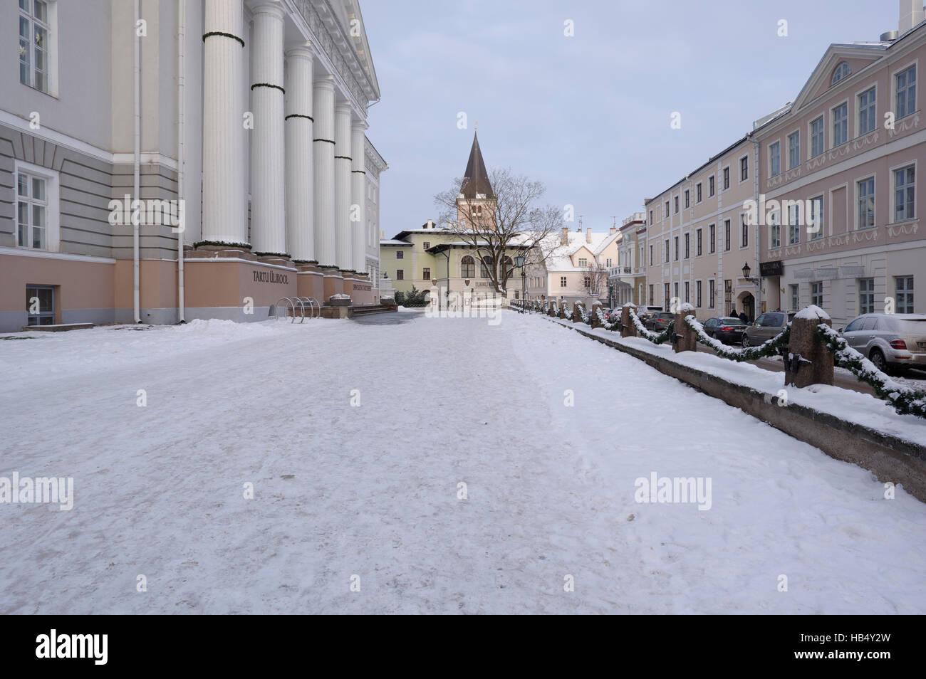 In front of the University of Tartu. Estonia 3th detsember 2016 - Stock Image