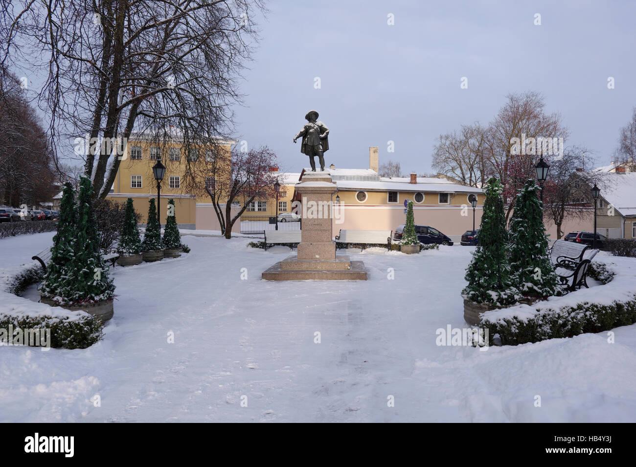 Statue of King Gustavus Adolphus of Sweden in Tartu, Estonia Estland Europe EU - Stock Image