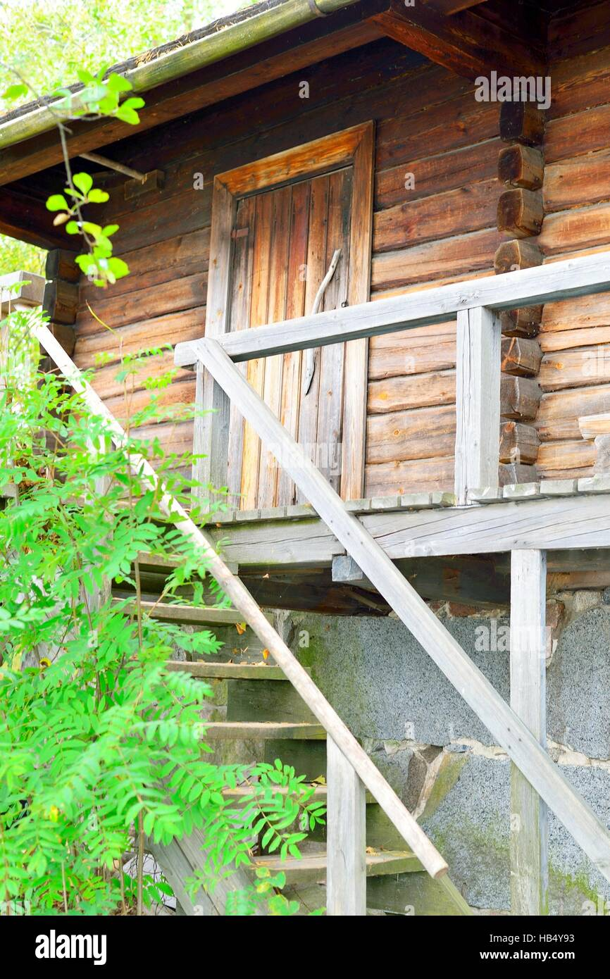 Finnish traditional sauna, door and stairs in Finland - Stock Image
