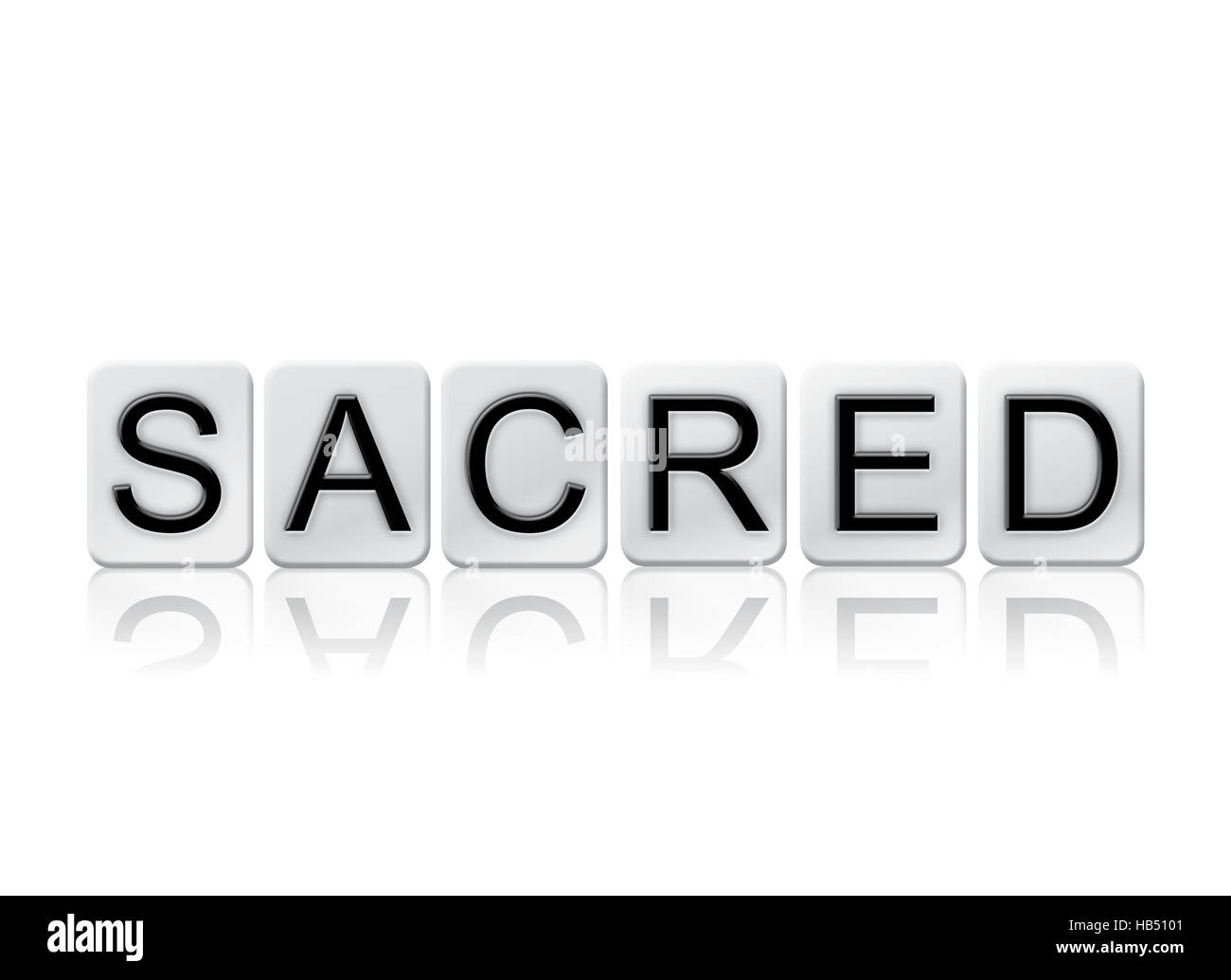 The word 'Sacred' written in tile letters isolated on a white background. - Stock Image