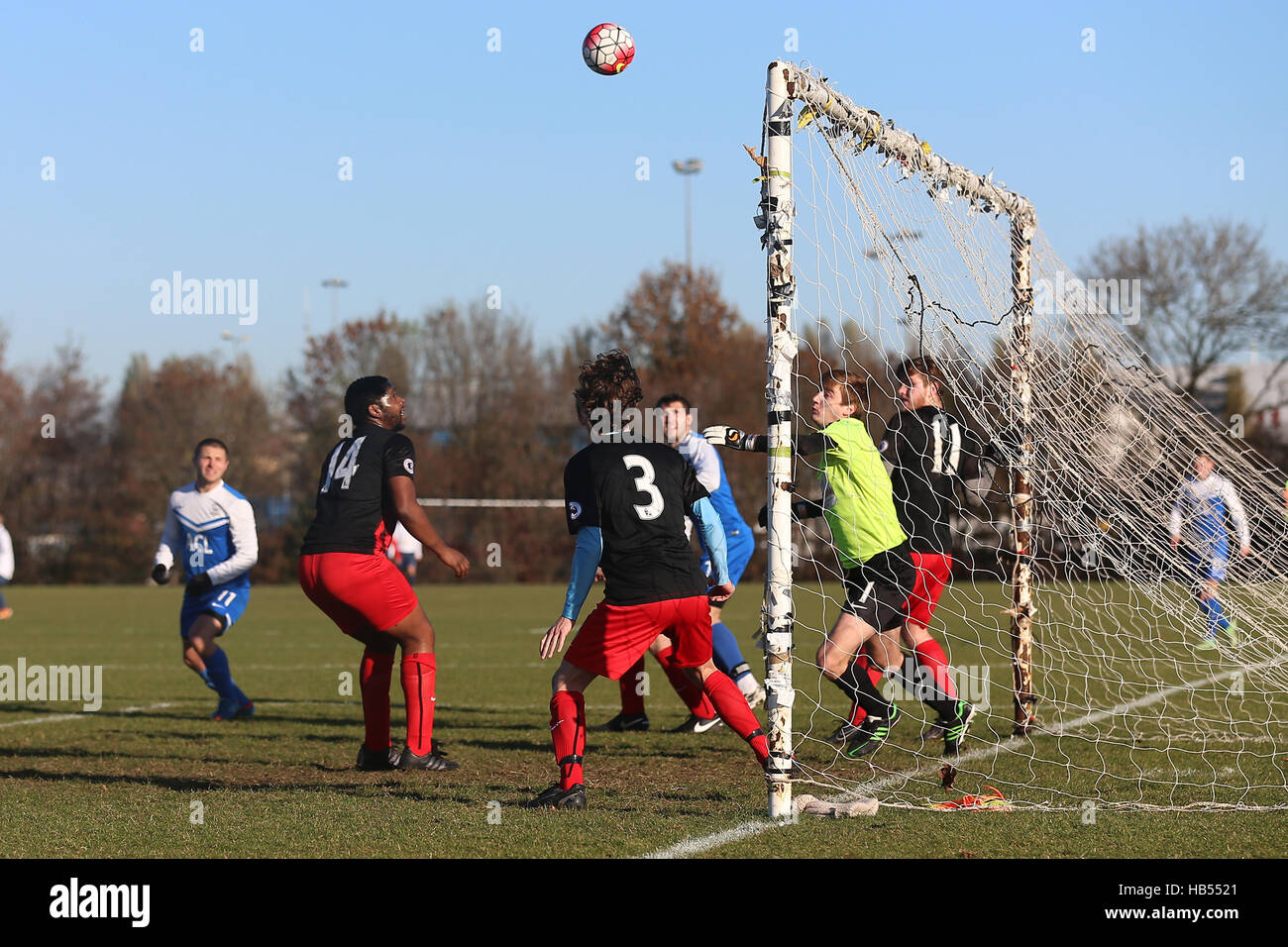 Krystal score their first goal during Mustard (red/black) vs FC Krystal, Hackney & Leyton Sunday League Football - Stock Image