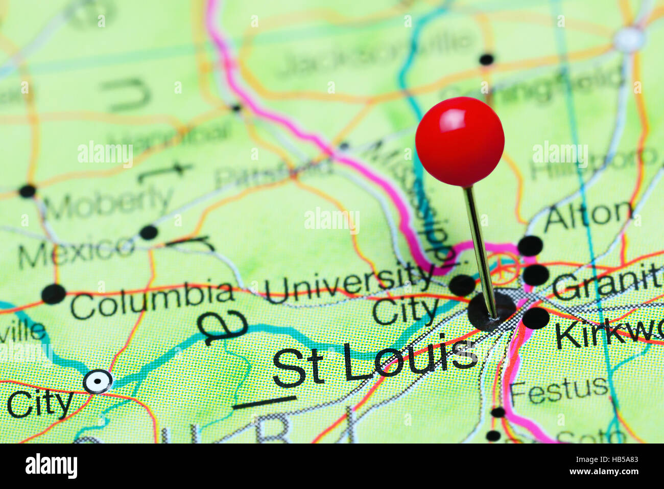 St Louis pinned on a map of Missouri, USA Stock Photo ... on salt lake city on us map, portland on us map, kalamazoo on us map, anchorage on us map, san francisco on us map, jackson on us map, chicago on us map, manchester on us map, lincoln on us map, madison on us map, boston on us map, cleveland on us map, durham on us map, milwaukee on us map, sacramento on us map, oakland on us map, little rock on us map, new orleans on us map, loudoun county on us map, independence on us map,