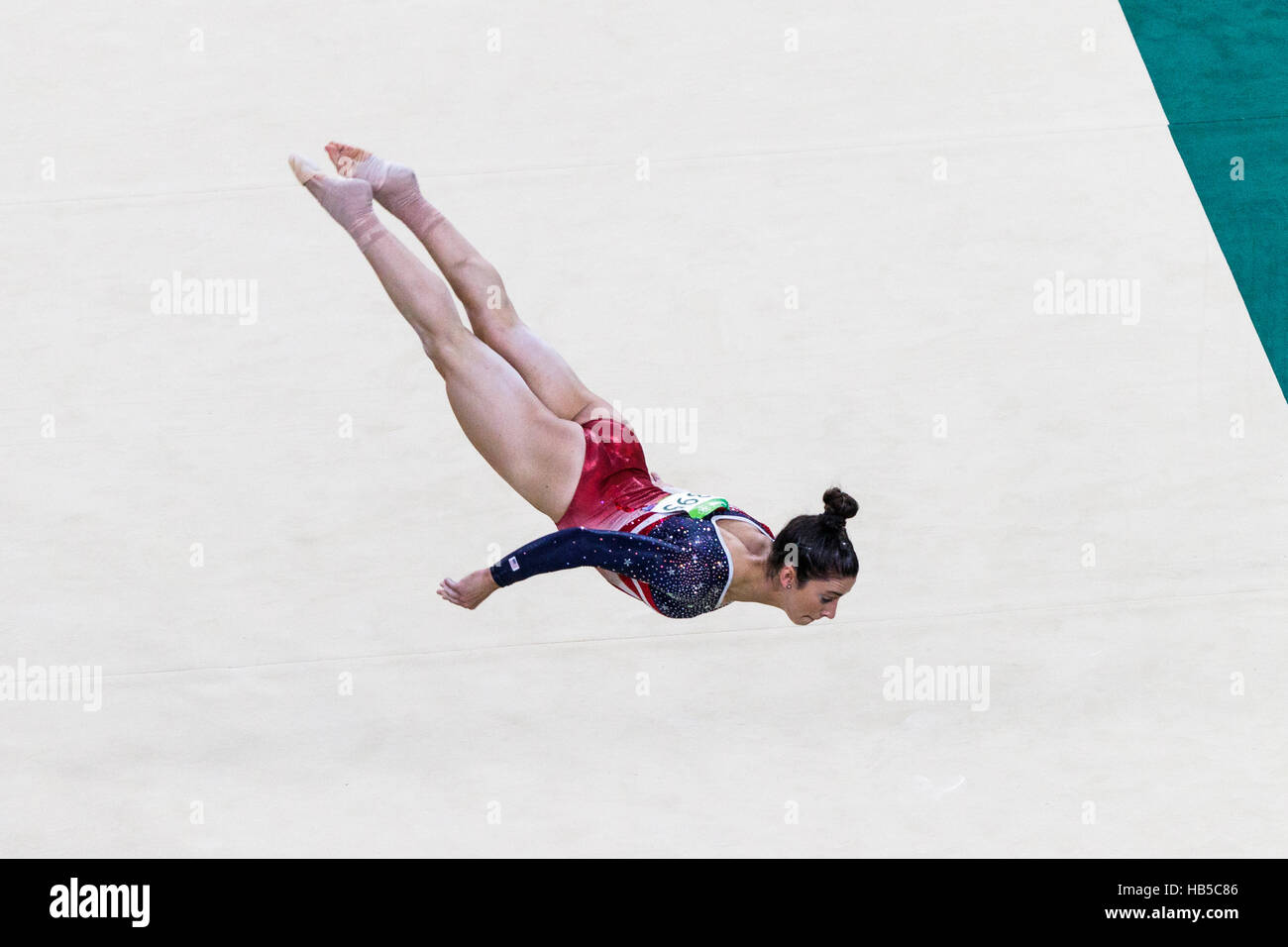 Rio de Janeiro, Brazil. 9 August 2016.  Alexandra Raisman (USA) performs the floor exercise as part of the Gold - Stock Image