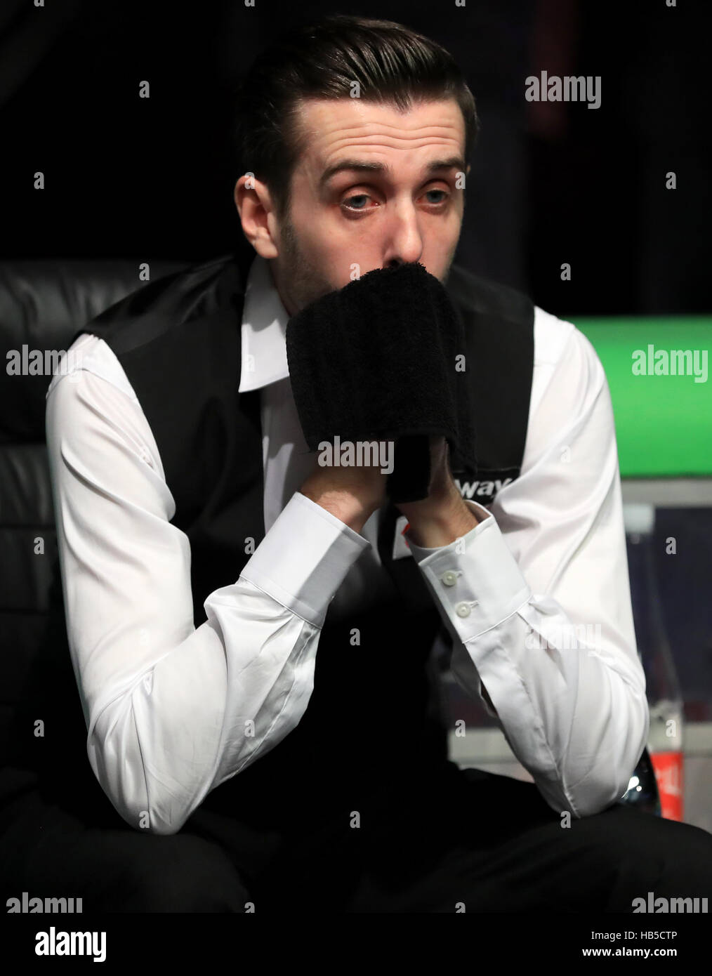 Mark Selby is tearful after victory over Ronnie O'Sullivan during day twelve of the Betway UK Championships - Stock Image