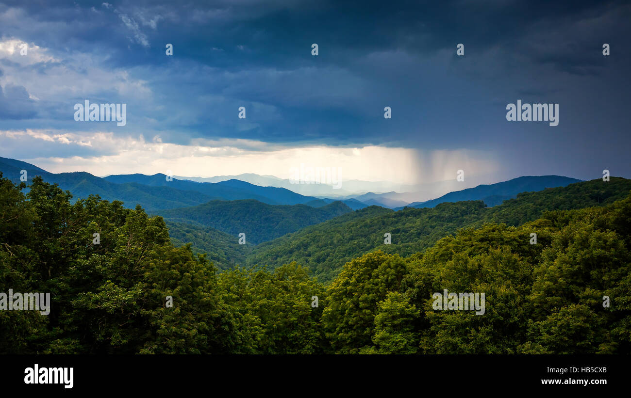 Rainstorm blows in over the Appalachian Mountains along Blue Ridge Parkway in Asheville, North Carolina - Stock Image
