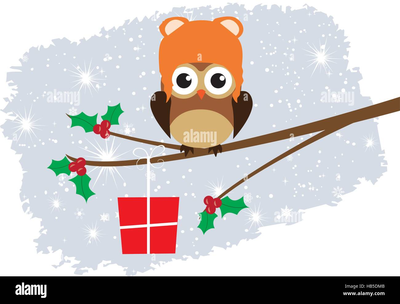 vector illustration of a tree with owl christmas background stock image - Owl Christmas