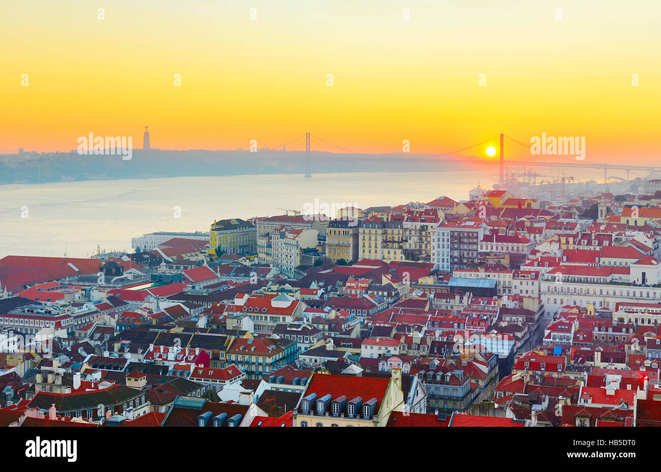 Lisbon aerial view at sunset. Portugal - Stock Image
