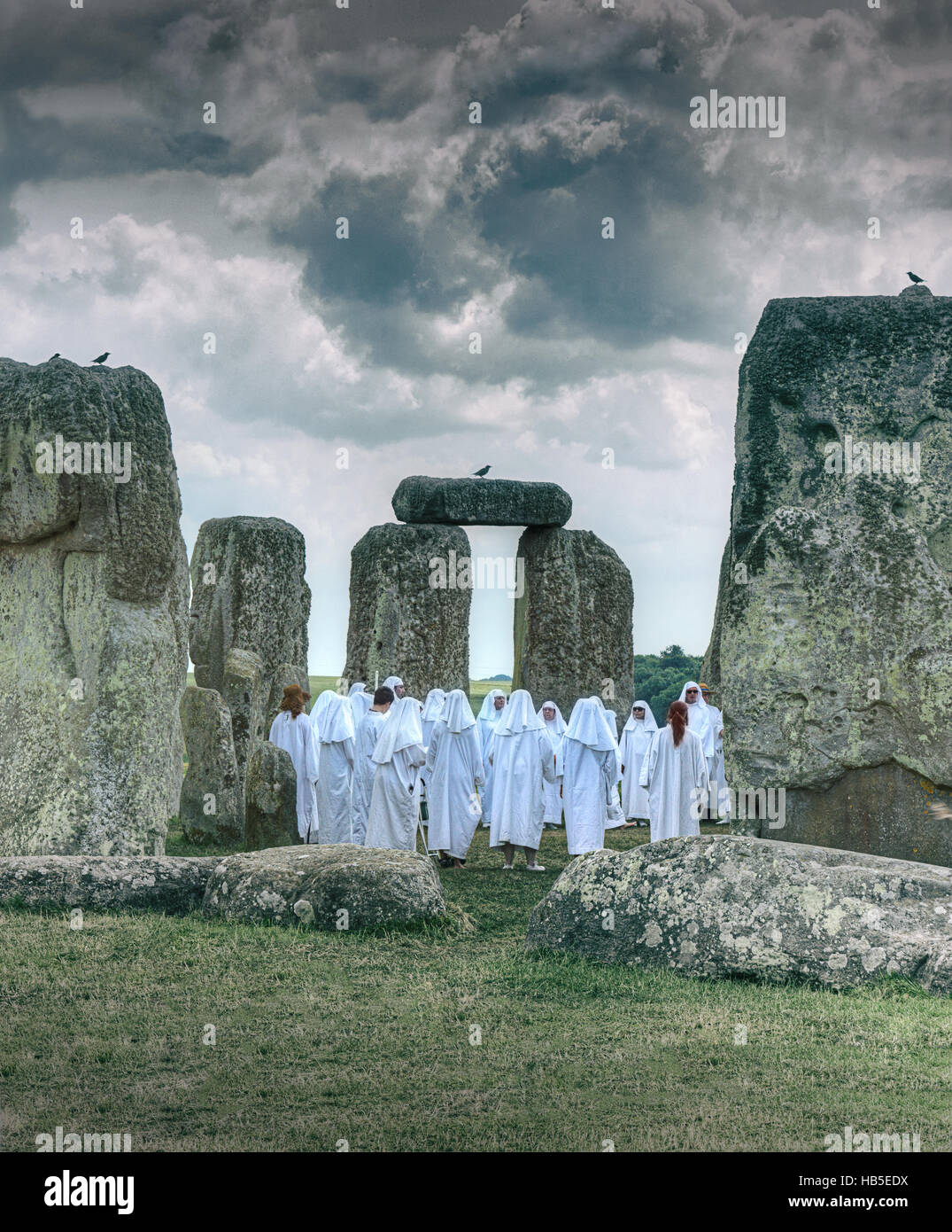 Solstice at Stonehenge. Druids. Pagan celebration. Pagan ritual. Stock Photo
