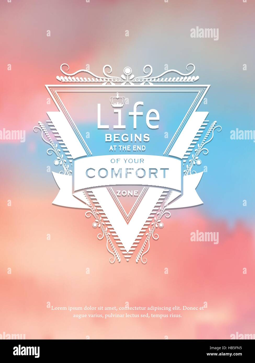 Positive Life Quotes Over Beautiful Blurred Background Stock Vector