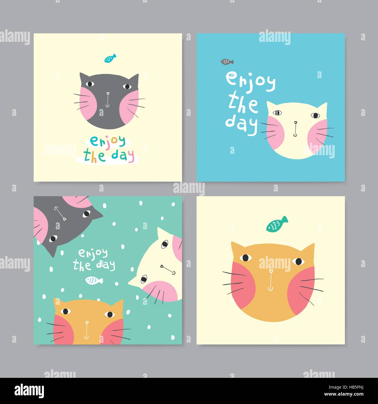 Set of adorable greeting cards with lovely cats in different colors set of adorable greeting cards with lovely cats in different colors m4hsunfo
