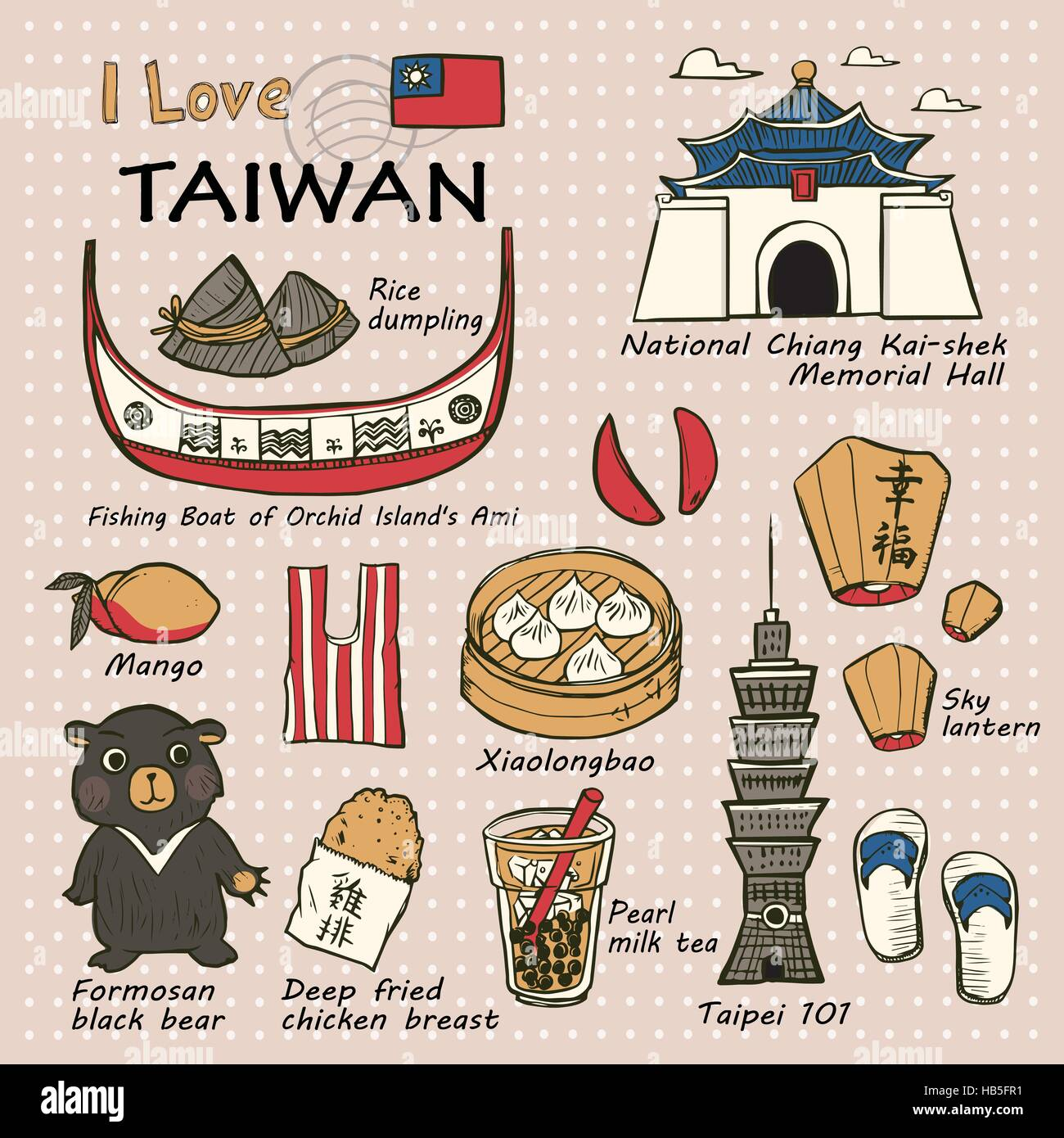 Travel Concept Taiwan Famous Things And Landscapes In Hand Drawn Style
