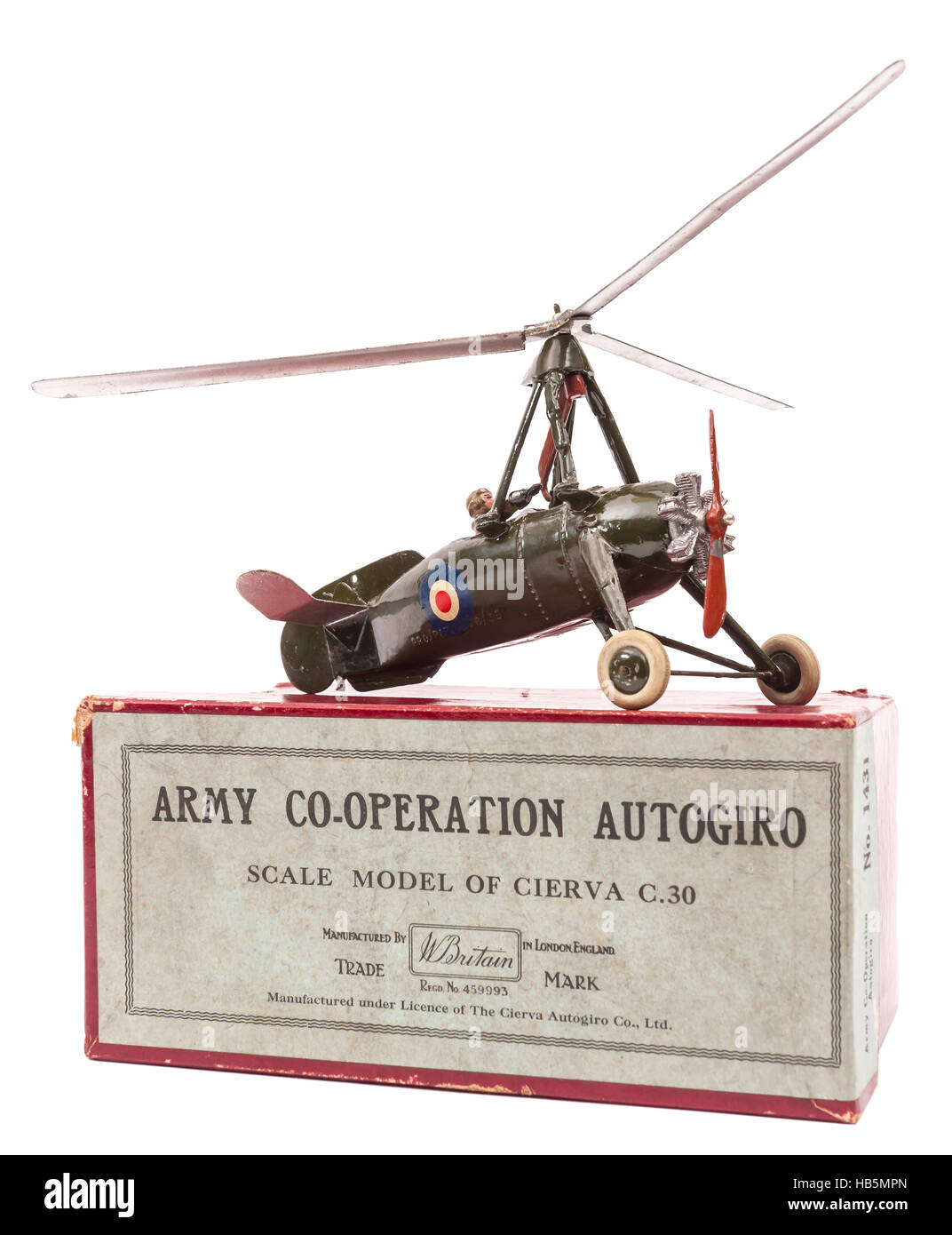 1950s Britain's Toys Army Co-operation Autogiro children's diecast metal toy - Stock Image