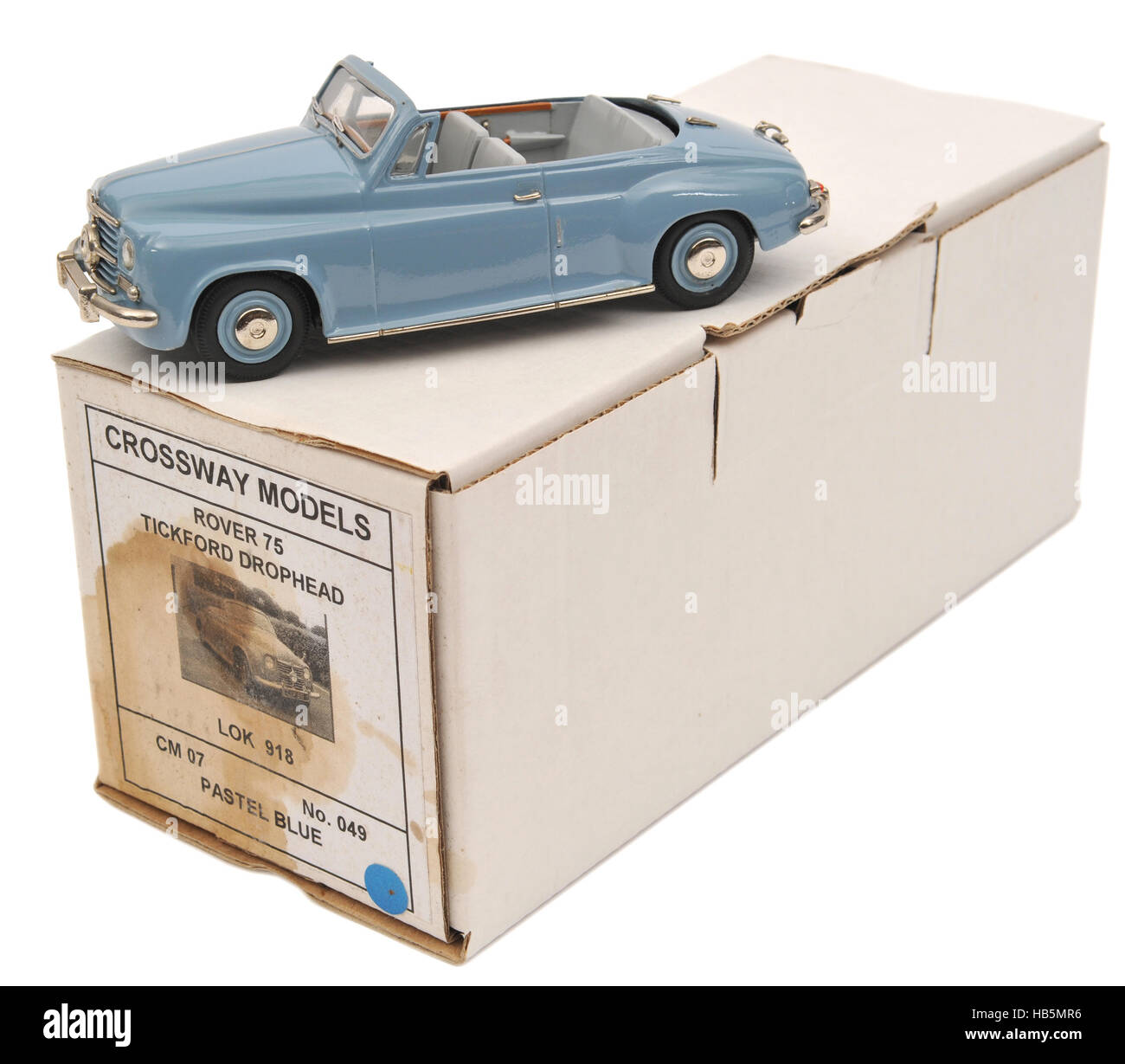 Diecast metal scale model of a 1950s Rover 75 Tickford Drophead car Stock Photo
