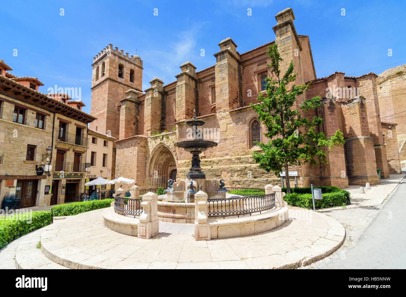 Gothic Colegiata de Santa María, Plaza de la Iglesia, Mora de Rubielos, Aragon, Spain - Stock Image