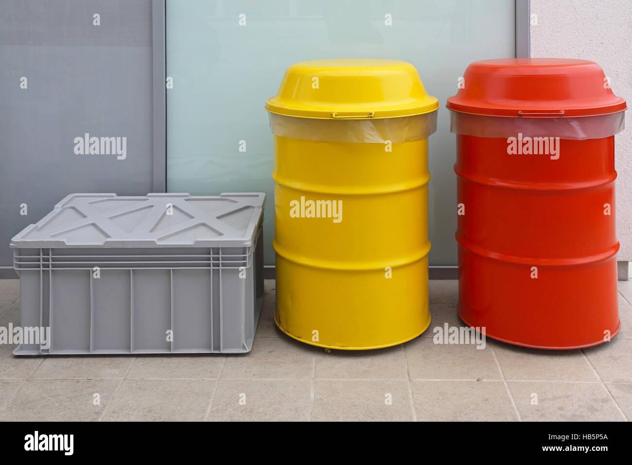 Hazardous Waste Disposal Barrels - Stock Image