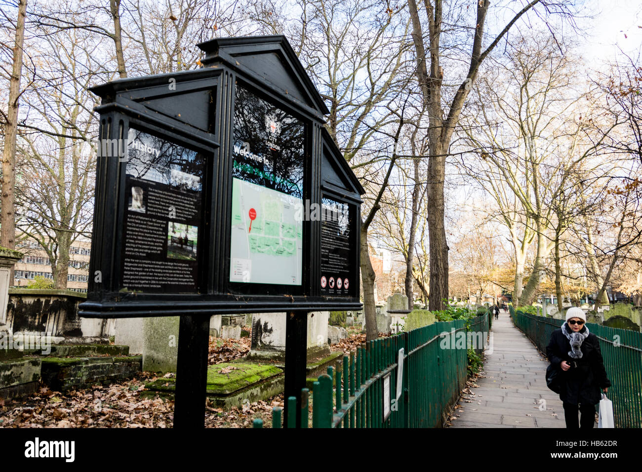 Bunhill Fields Cemetery and Burial Ground - Stock Image