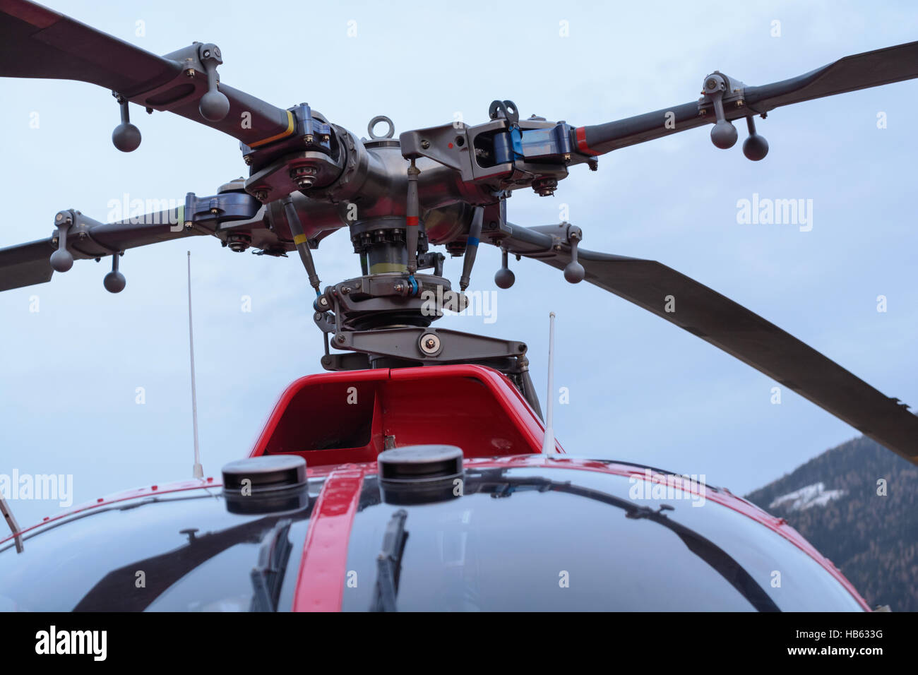 Rotor blades of a helicopter - Closeup - Stock Image