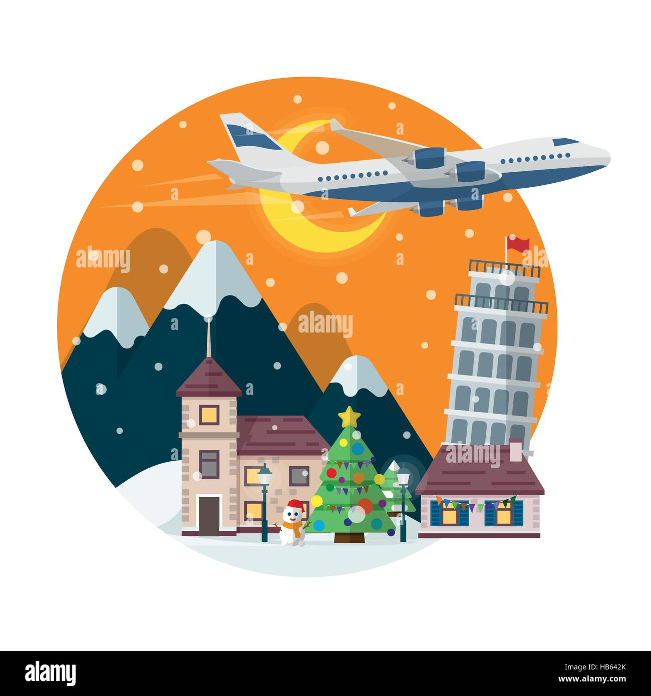 travel to italy merry christmas round banner in flat. Black Bedroom Furniture Sets. Home Design Ideas