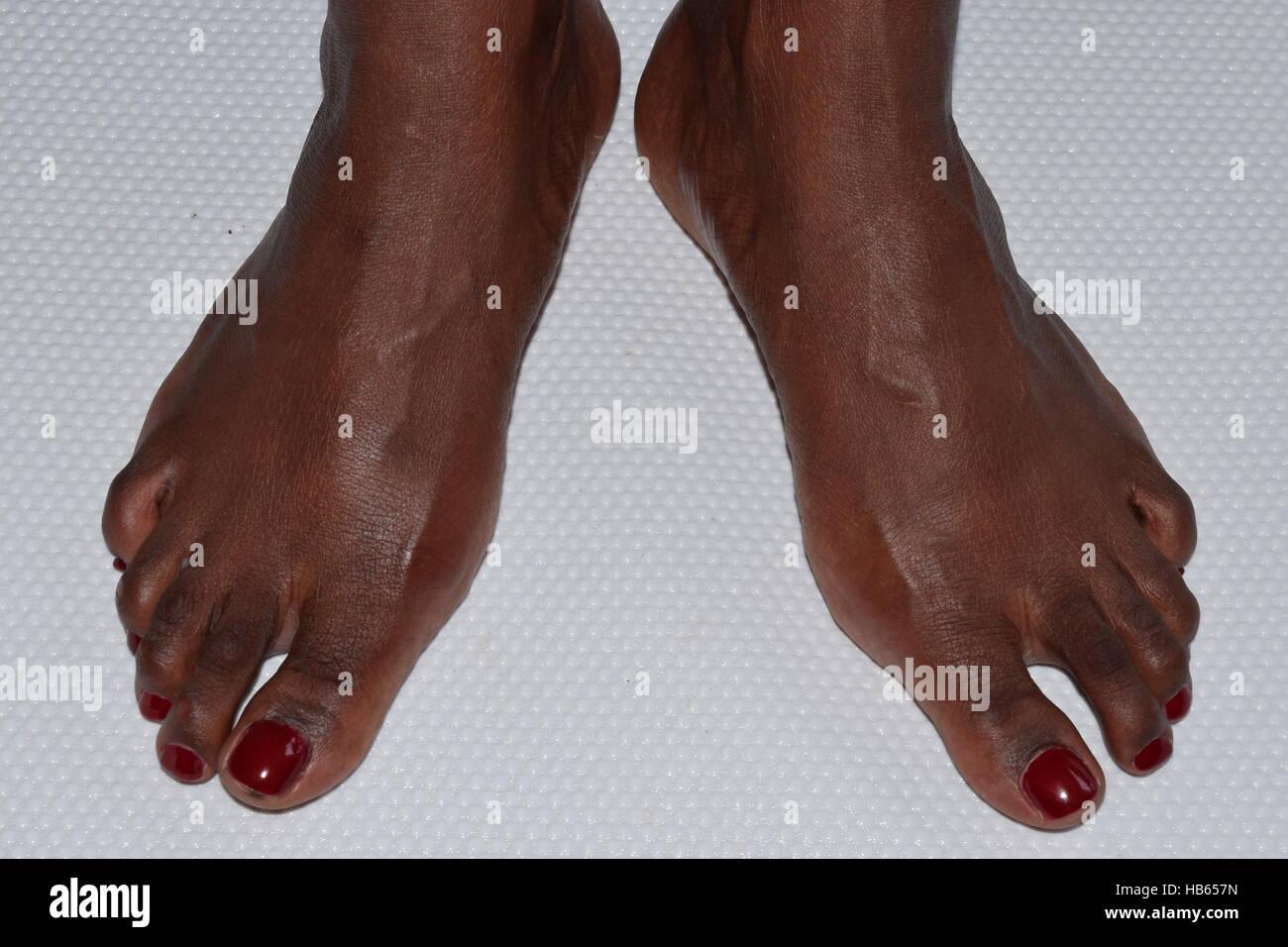 Perfect clean female feet beautiful and elegant - Stock Image