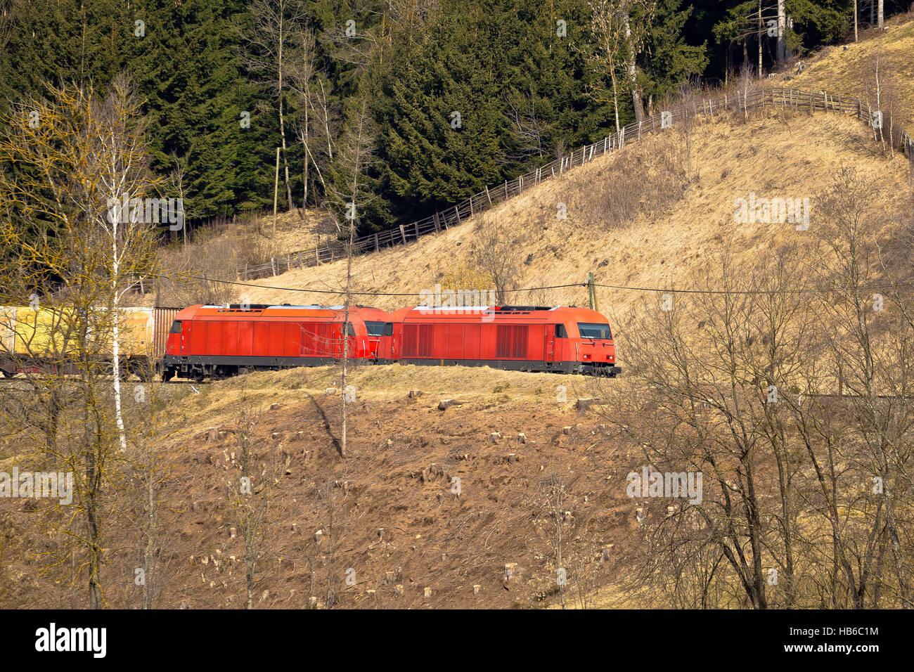 Austrian railways OBB train in nature - Stock Image