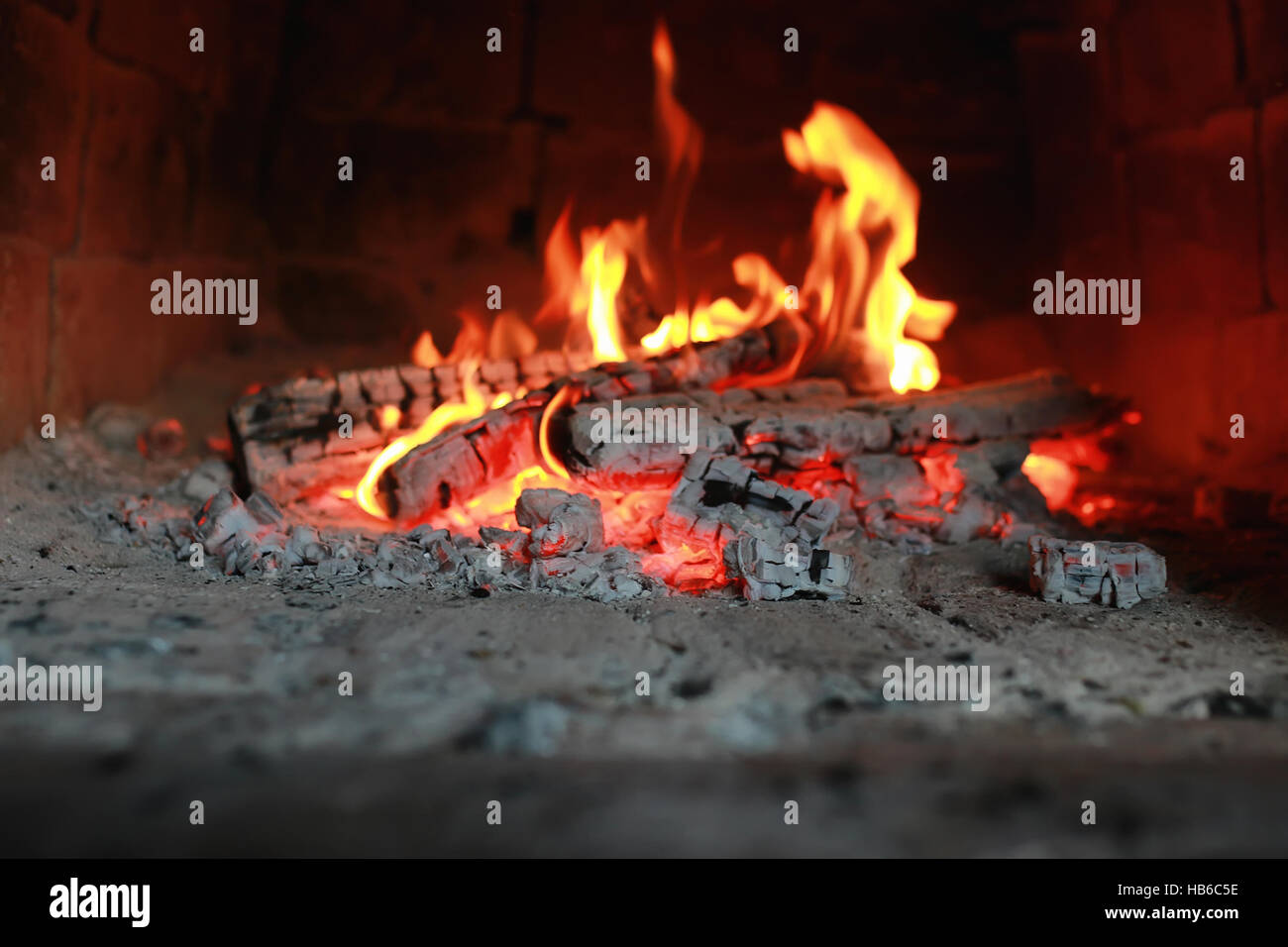 flame fire in the oven - Stock Image