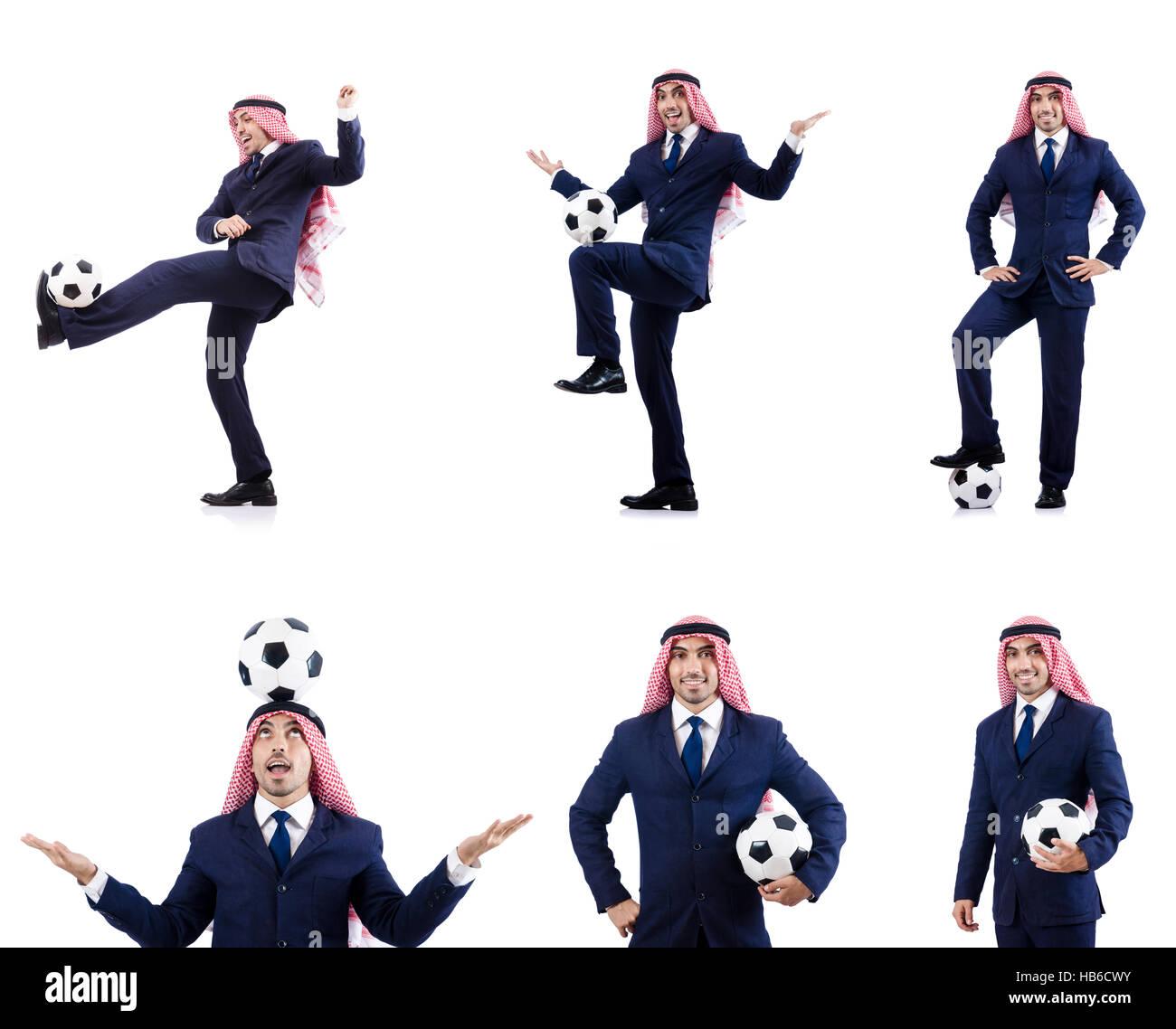 Arab businessman with football - Stock Image