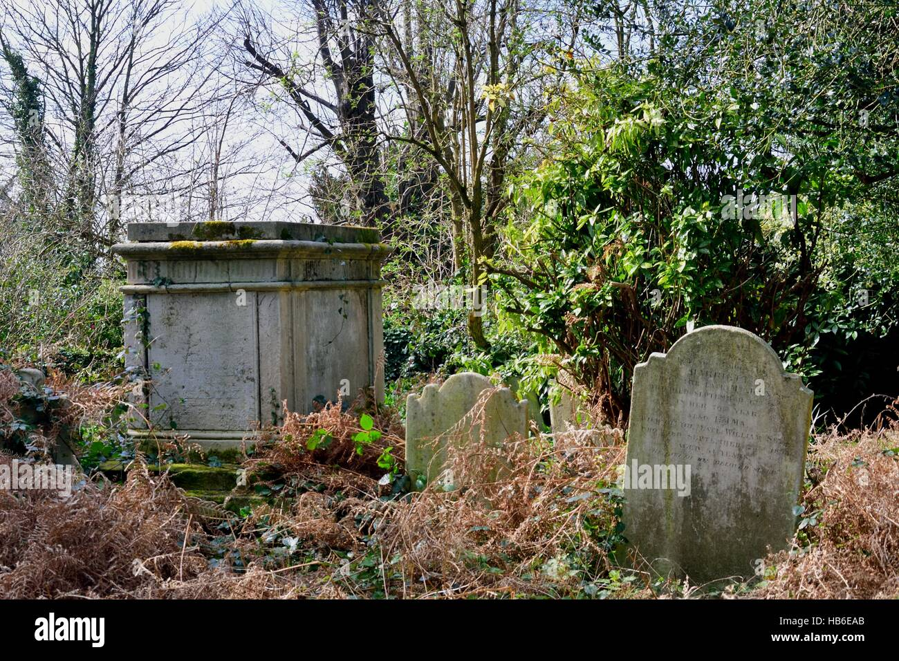Tomb and tombstone  English cemetry - Stock Image
