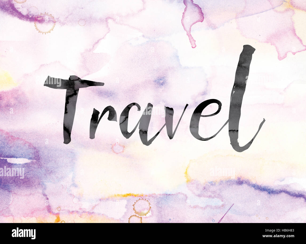the word travel painted in black ink over a colorful watercolor