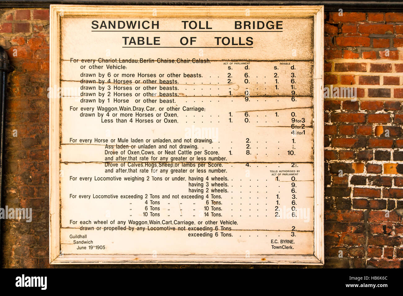 England, Sandwich. Town Barbican gate, wooden sign from 1905, listing toll charges for horse and carts, cattle and - Stock Image
