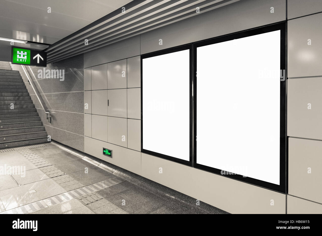 blank billboard in exit - Stock Image