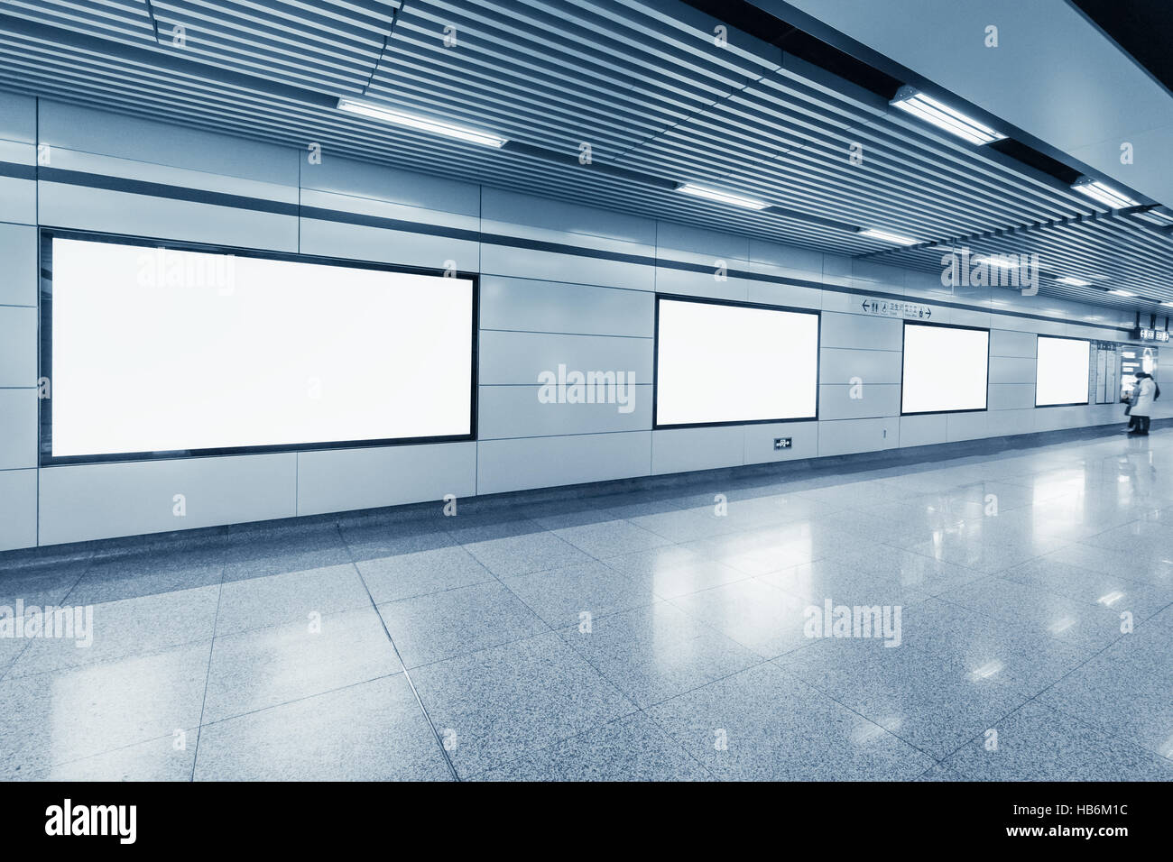 blank billboard in metro station - Stock Image