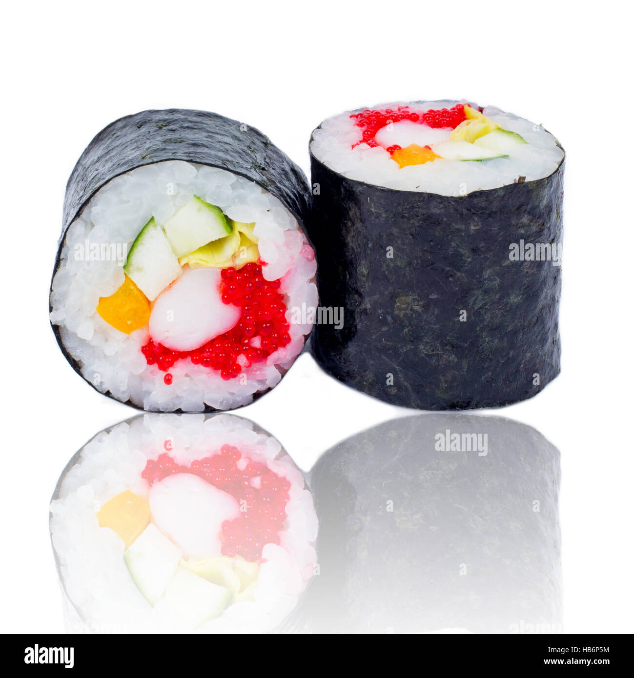 Sushi pieces collection, isolated on white background - Stock Image