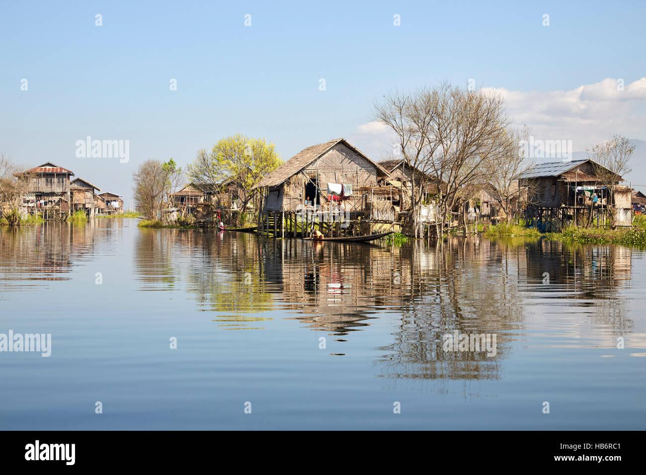 Nampan village, Inle Lake, Myanmar (Burma) - Stock Image