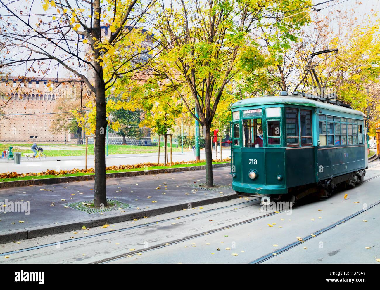 Old tram in Milano, Italy - Stock Image
