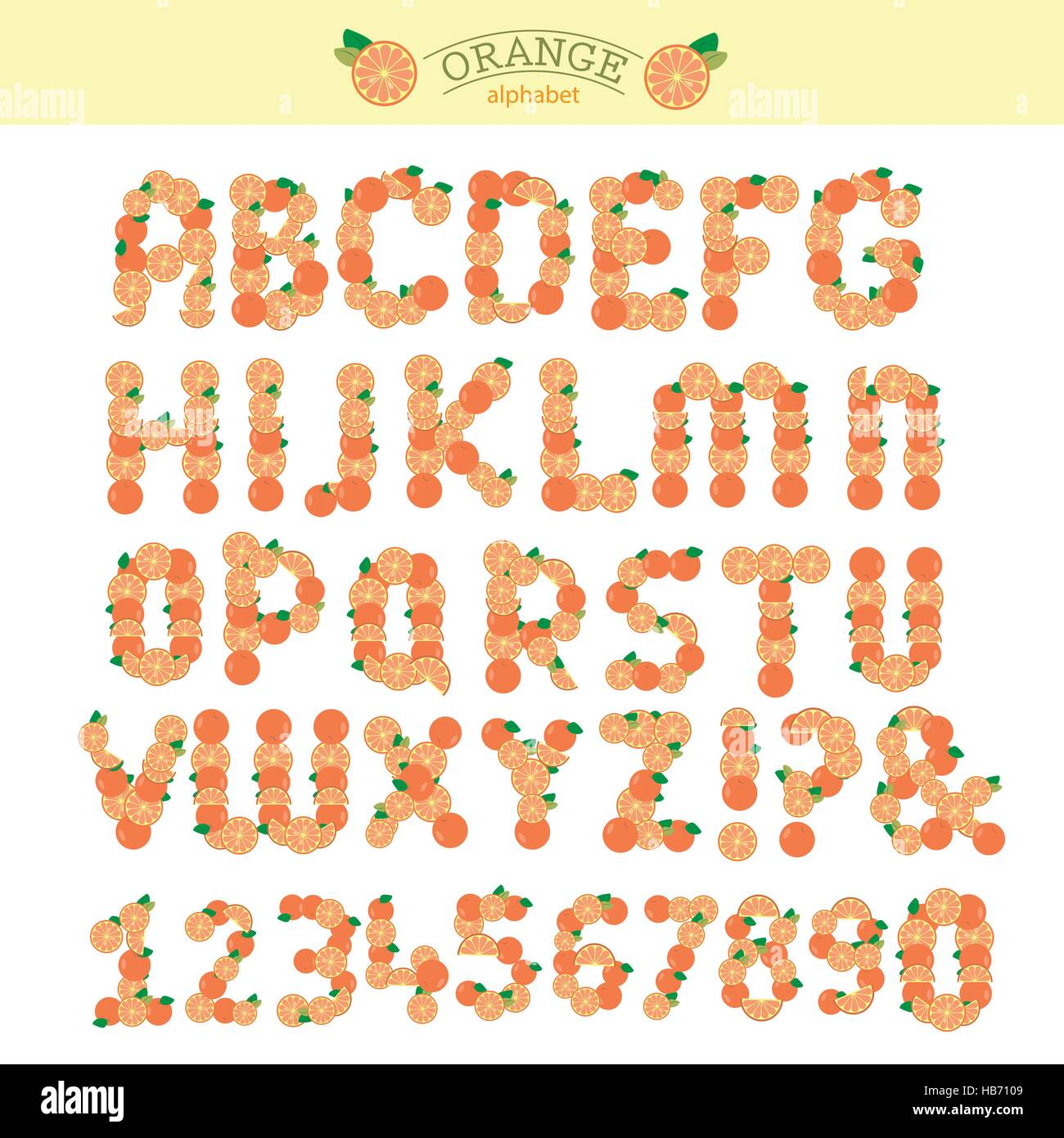 Orange Fruit Special Font Abc A Z Capital Headline Letters Vector
