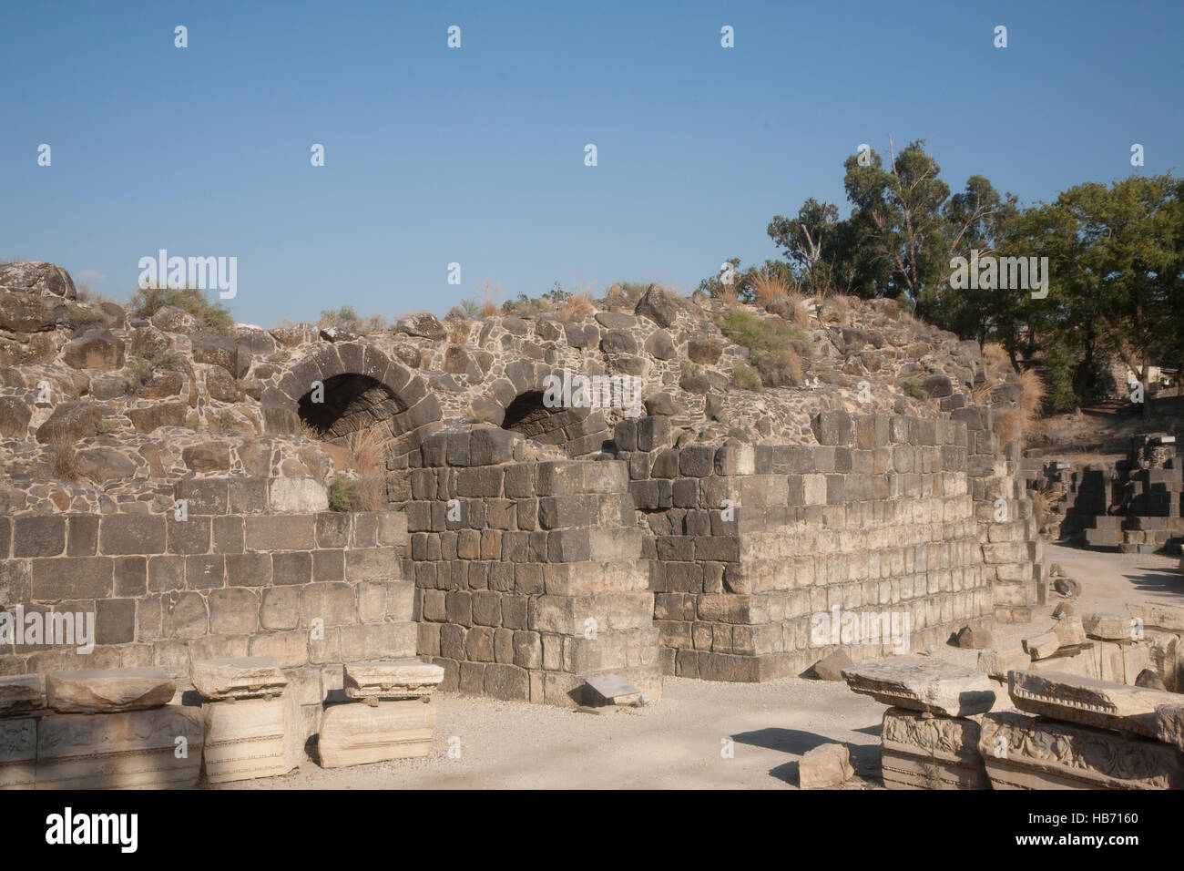 Israel, the North,  Bet She'an National Park, ancient city of Bet She'an-Scythopolis, archaelogical excavations - Stock Image